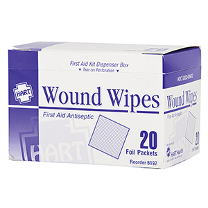 WOUND WIPES, HART, BZK, 20/BOX
