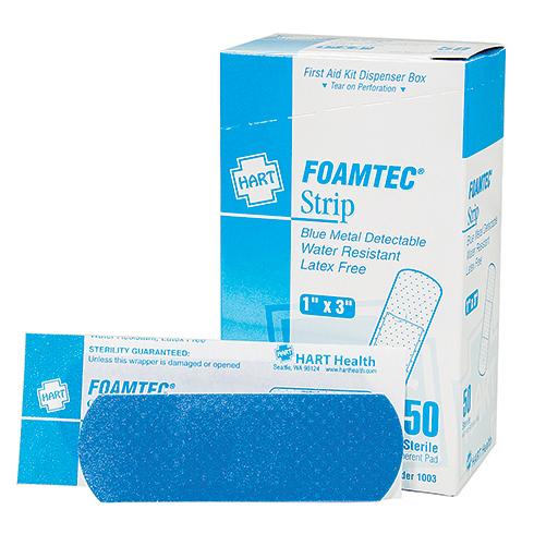 FoamTec, Blue Metal Detectable Strip, Water Resistant Foam Bandages, 50 per box