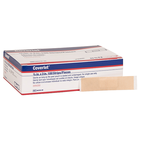 Coverlet Adhesive Bandages, light woven, strip, .75