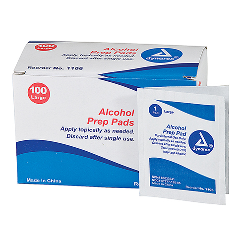 Alcohol Prep, Dynarex, large pad, 100 per box