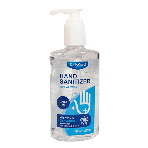 Hand Sanitizer, 70% alcohol, 8 oz pump bottle