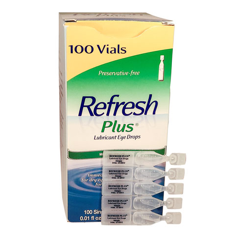 Refresh Plus, eye drops, 0.01 oz vial, 100 per box