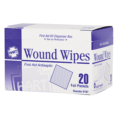 Wound Wipes, HART, BZK, 20 per box