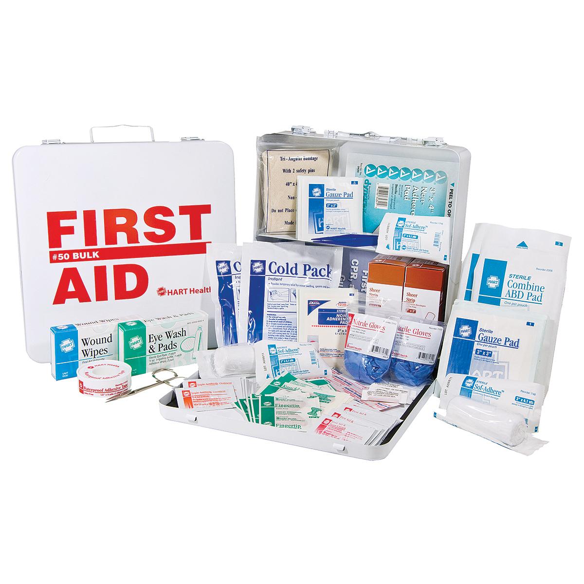 50 Bulk First Aid Kit, OSHA, HART, metal - FIRST AID KITS