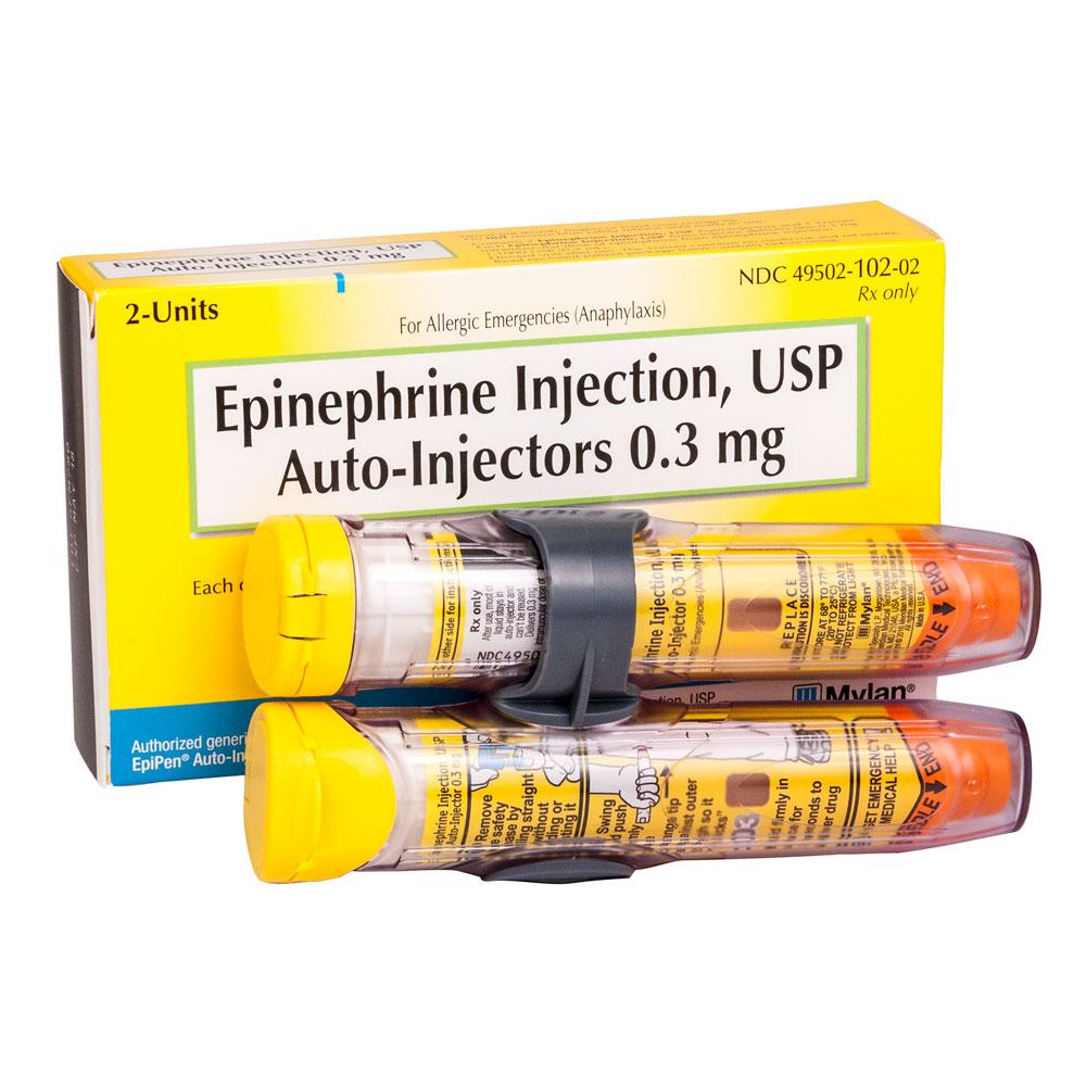 Epinephrine Injection, USP, Auto-injector, Adult, 0.3 mg, 2/. Loading zoom
